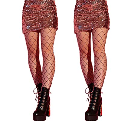 DancMolly Fishnet Stockings Pantyhose Women's 2 Pair High Waist Hollow Mesh Tights Legging Hosiery (Black/Large Hole, 2 Pair, One Size) at Women's Clothing store