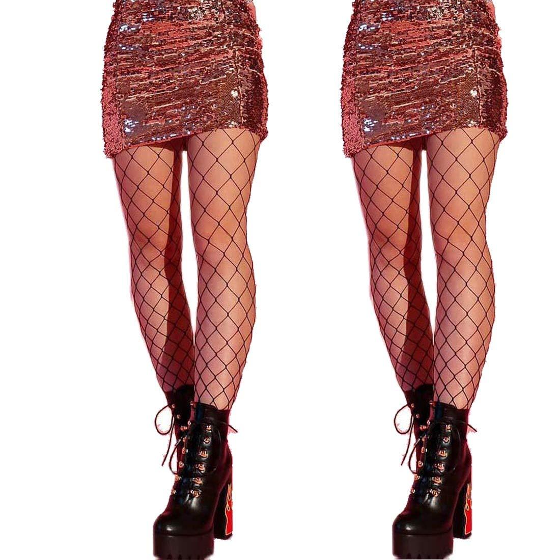 DancMolly Fishnet Stockings Pantyhose Women's 2 Pair High Waist Hollow Mesh Tights Legging Hosiery