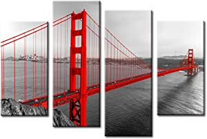 Golden Gate Bridge Wall Decor - Black White and Red Photograph with Pop of Color on The San Francisco - Cityscape Art Painting poster Framed Canvas Artwork Home Kitchen Living Room Decoration