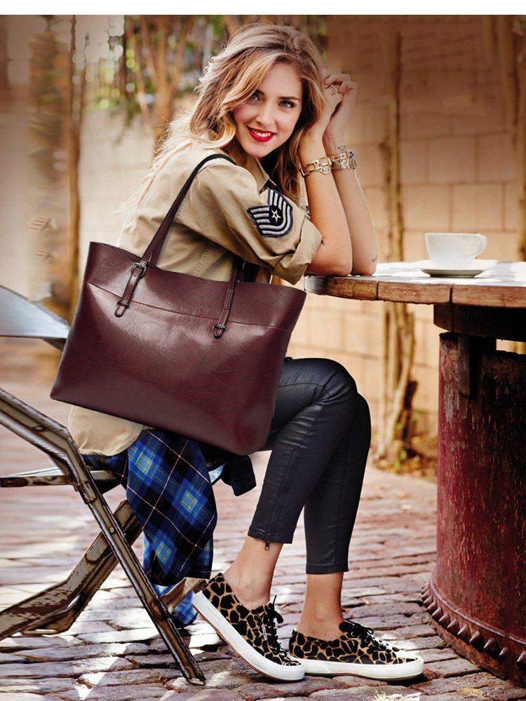 Women's Vintage Fine Fibre Genuine Leather Bag Tote Shoulder Bag Handbag Model Sie Black by CIR (Image #5)
