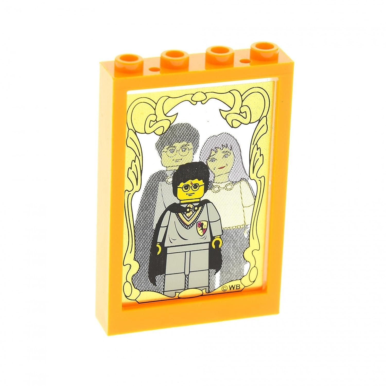 1 x Lego System Fenster Rahmen medium hell orange 1 x 4 x 5 Scheibe ...