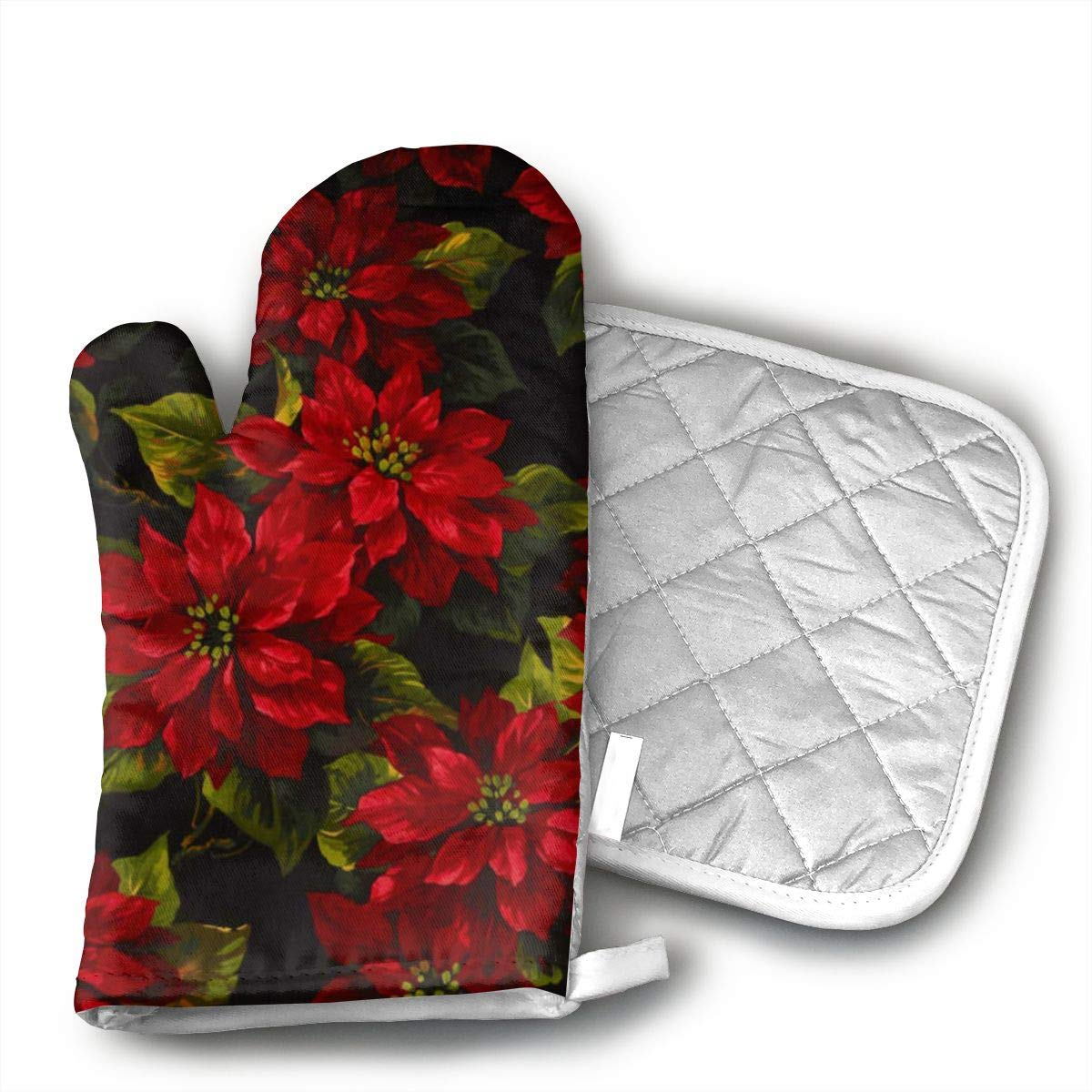 HGUIDHG Michael Miller Scarlet Poinsetta Oven Mitts+Insulated Square Mat,Heat Resistant Kitchen Gloves Soft Insulated Deep Pockets, Non-Slip Handles