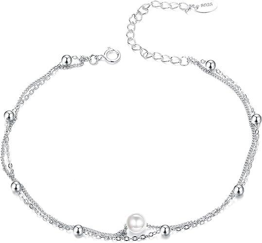 Womens Anklet 925 Sterling Silver Adjustable Bracelet Bohemian Beach Star Moon Love Jewelry Fit Girl Girlfriend Gift Anklet