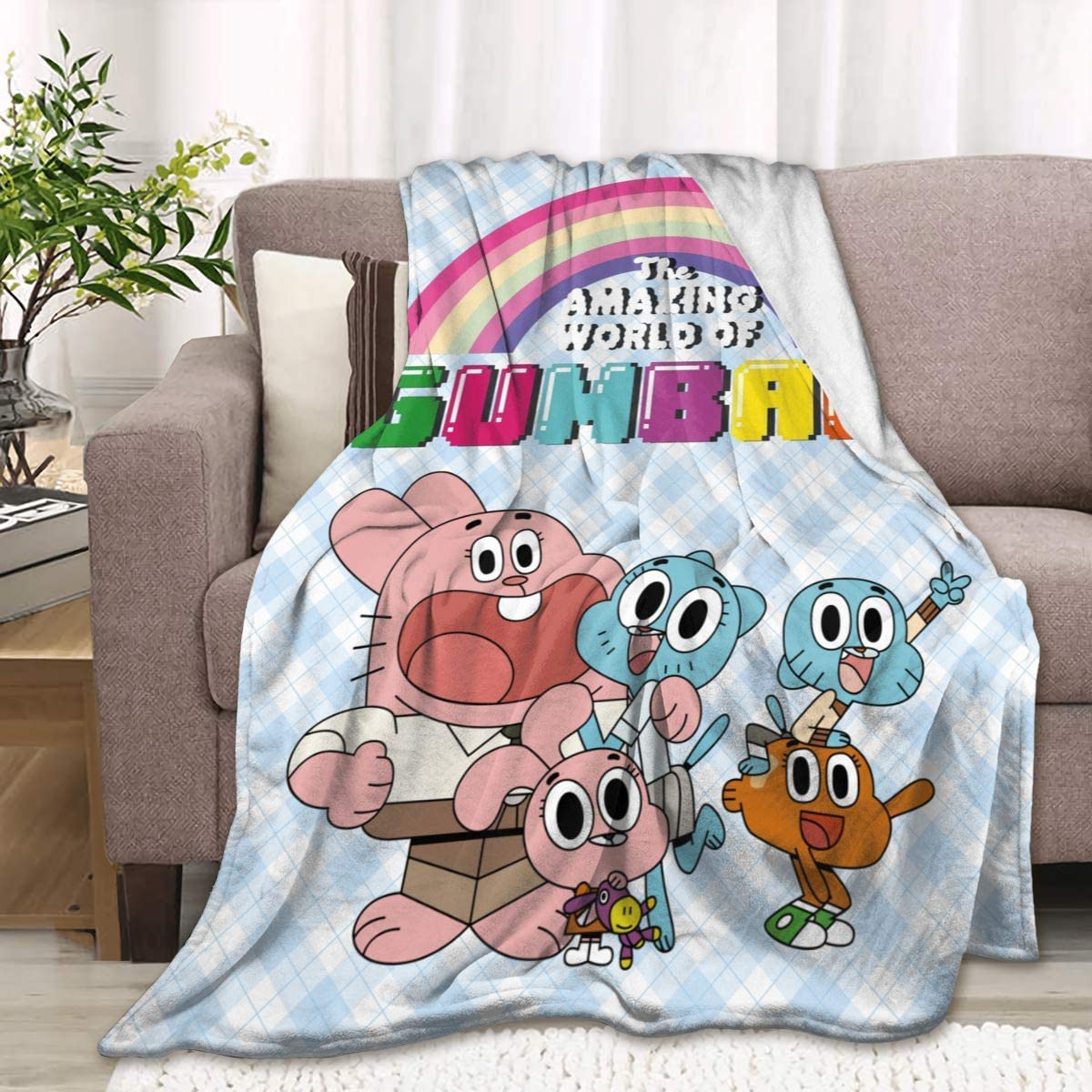 Uzila The Amazing World of Gumball Flannel Blanket Bedding Super Soft Plush Throw Comfort Warm Blanket for Children Boys Or Adult Couch Bed Chair Office Sofa Living Room Decor 50X40 for Kids