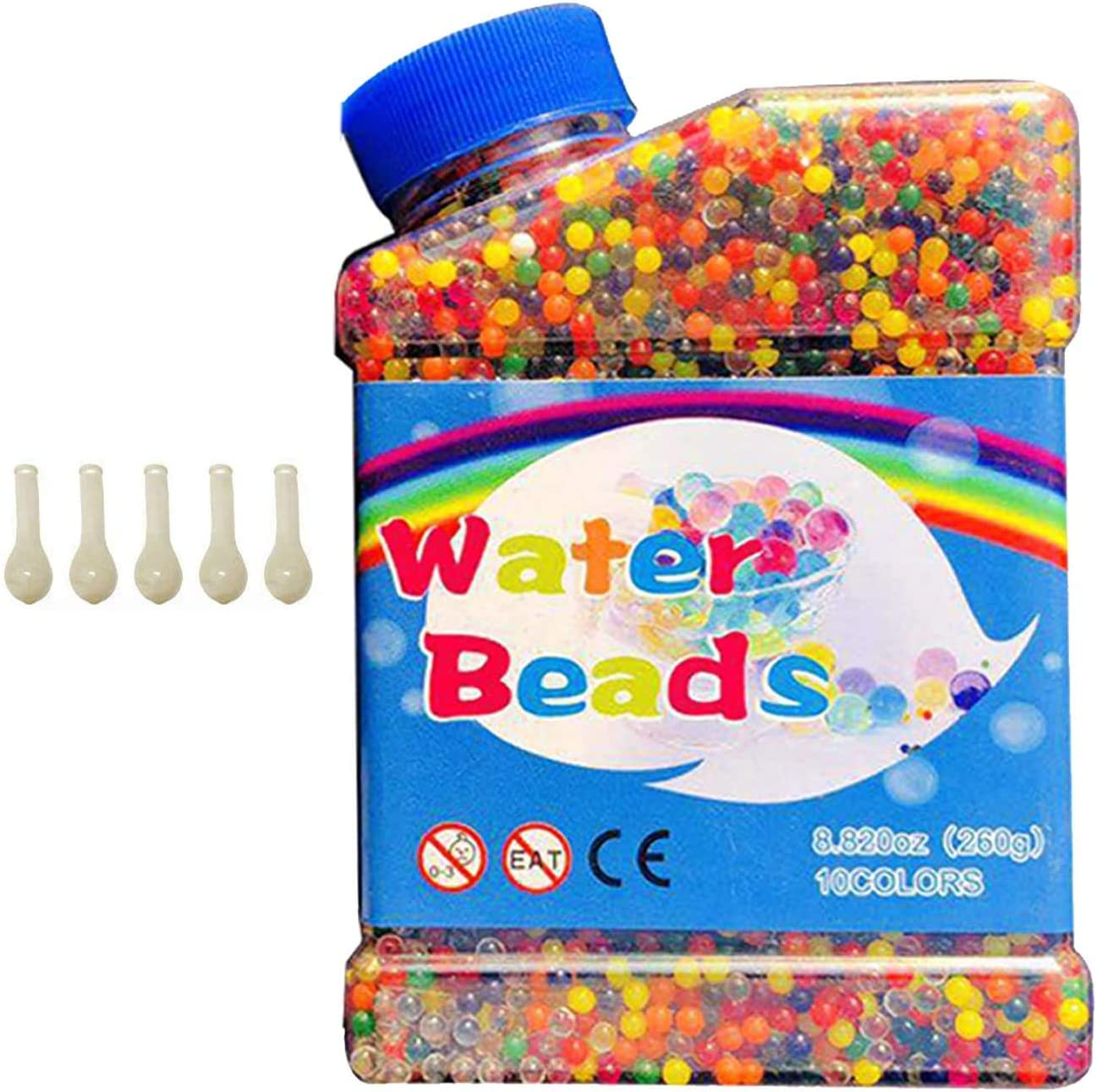 5 Globos Adicionales Incluidos HEPAZ 55000 PCS Bolas de Gel de Agua Perlas No T/óxicas Crecen En Agua,Perlas de Gel para decoraci/ón,