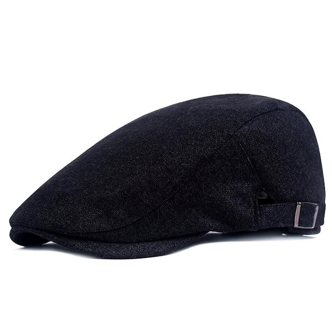 5ae12a201 YaWindYa Mens Newsboy Wool Duckbill Flat Cap Gatsby Baker Boy Cabbie Irish  Ivy Driving Hunting Hat Adjustable 56-60CM