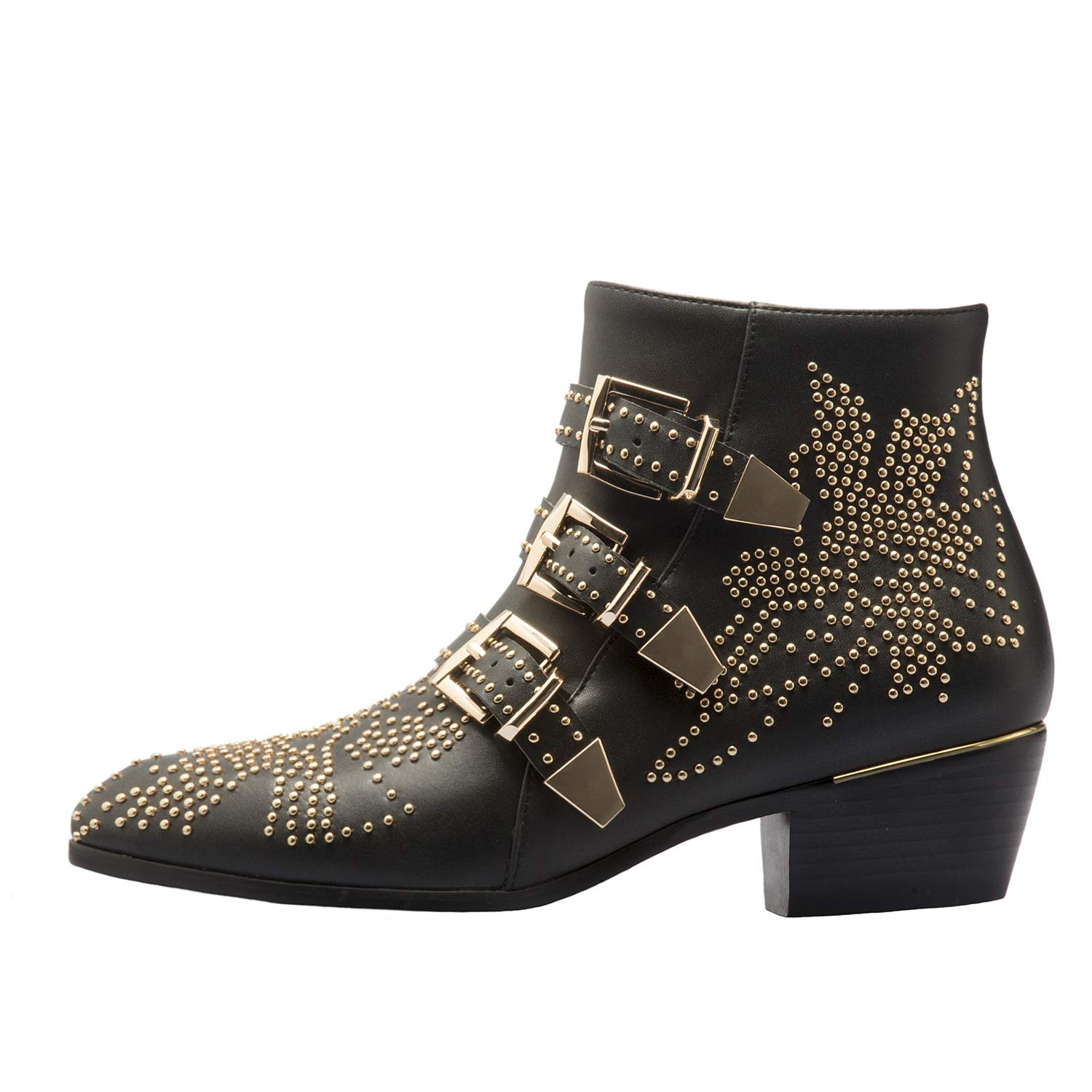 Black-gold Comfity Boots for Women,Women's Leather Boot Rivets Studded shoes Metal Buckle Low Heels Ankle Boots