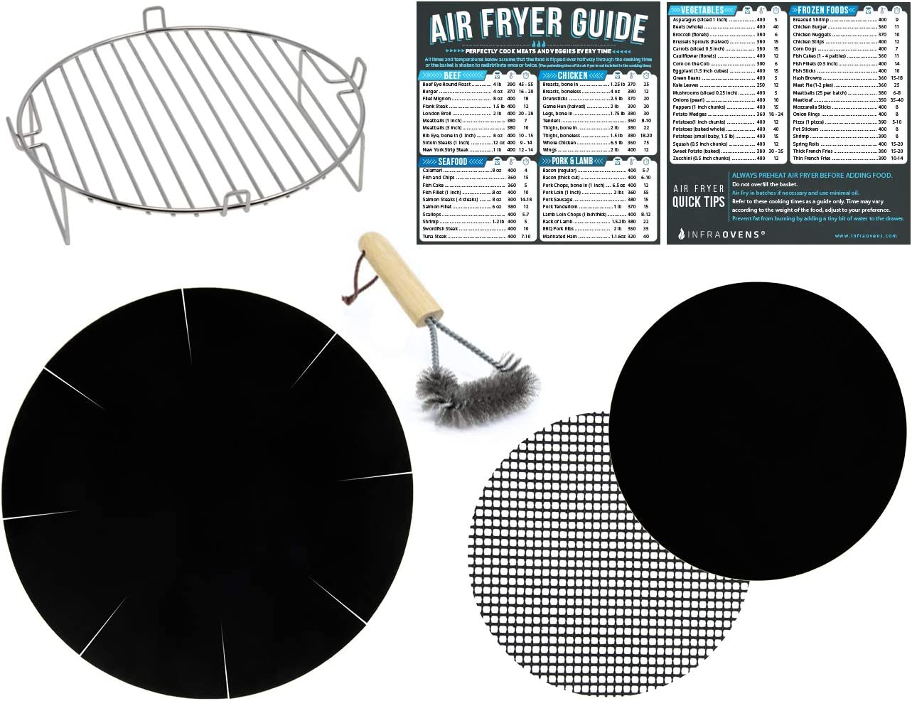 Air Fryer Rack Accessories Compatible with Costzon 4.8 QT, Ninja Foodi 8 QT, Posame 4.2 QT, Ultrean 8.5, Zokop 3.7 | Large Airfryer Stainless Steel Round Accessory + Cooking Times Reference Guides