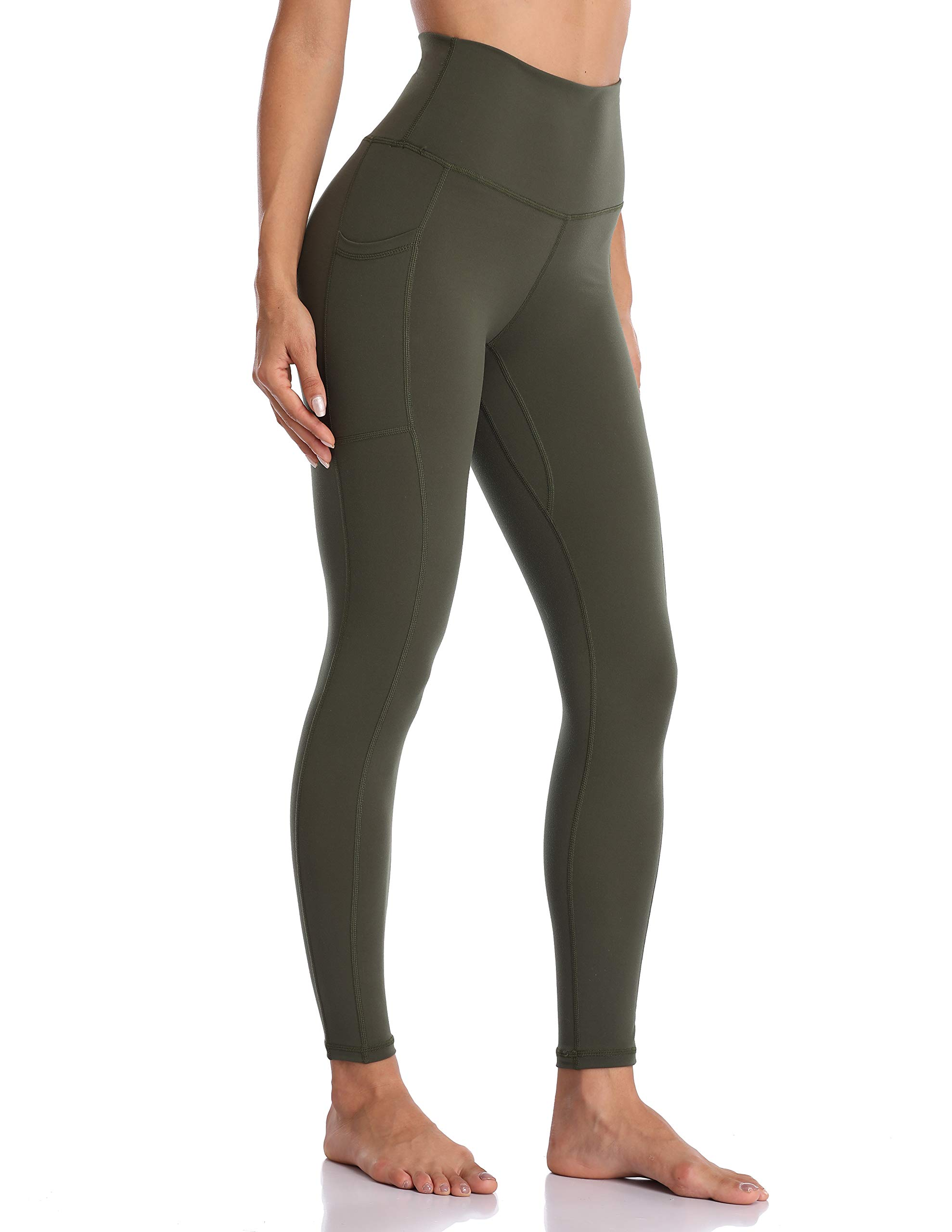 Colorfulkoala Women's High Waisted Yoga Pants 7/8 Length Leggings with Pockets(XL, Olive Green) by Colorfulkoala