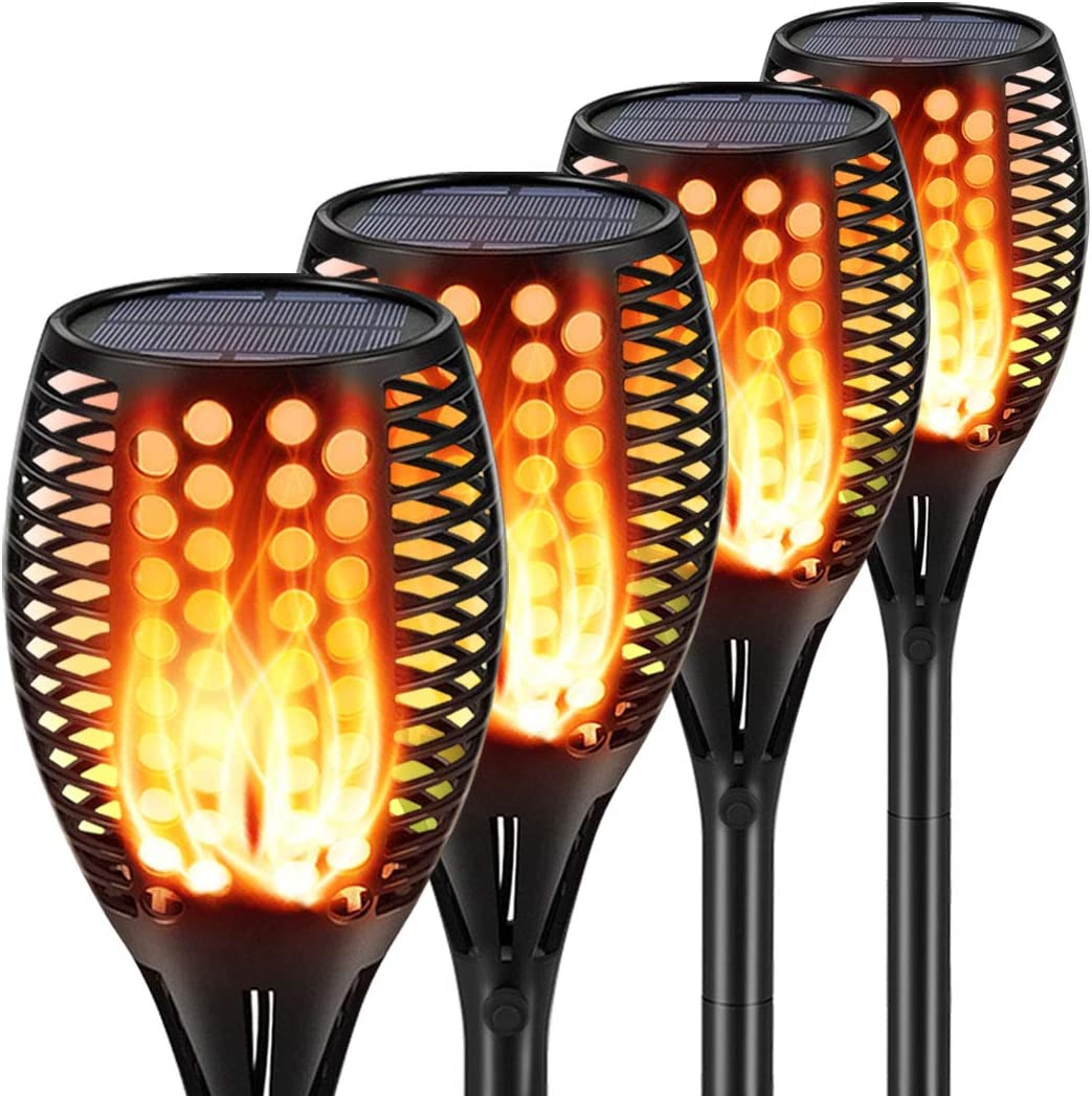 6 Pack Solar Torch Lights LED Flickering Dancing Flame Flaming Outdoor Garden