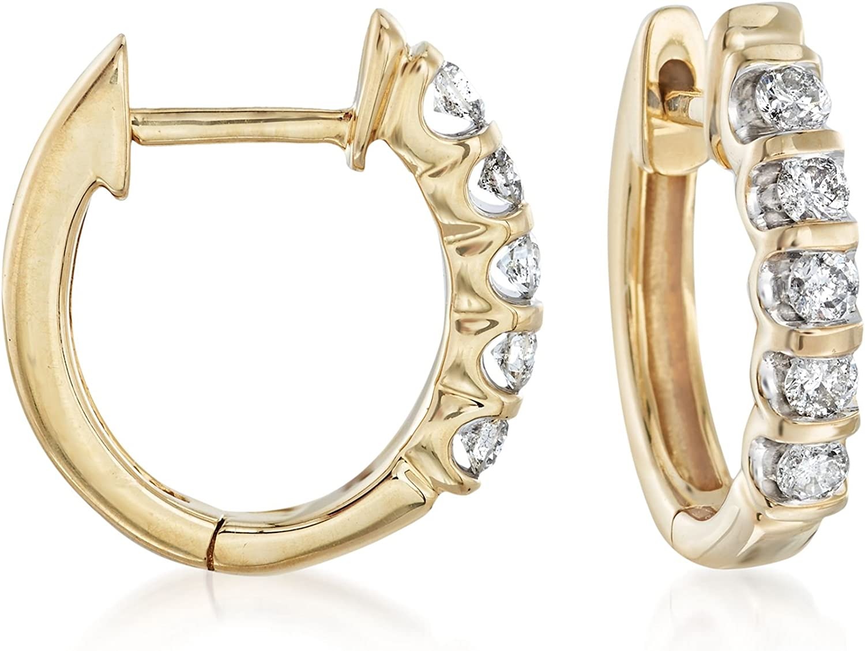14ct TW Diamond Hoop Earrings in 14K Yellow Gold