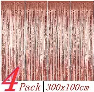 BangShou 4 Pack Cortinas de Malla Metálica 1m x 3m Cortina de lámina Franjas Decoración Fondopara Fiesta de Cumpleaños para Ventanas Puertas Paredes (Rosa Oro): Amazon.es: Hogar