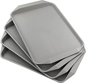 Anbers Grey Plastic Serving Tray/Cafeteria Fast Food Tray,12