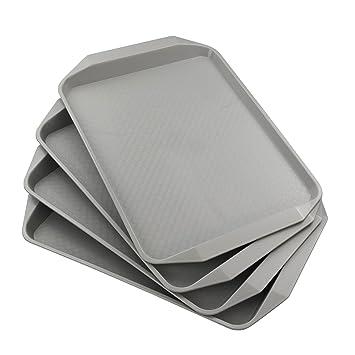 """anbers gris plástico Bandeja para servir/cafetería bandeja de comida rápida, 12 """""""