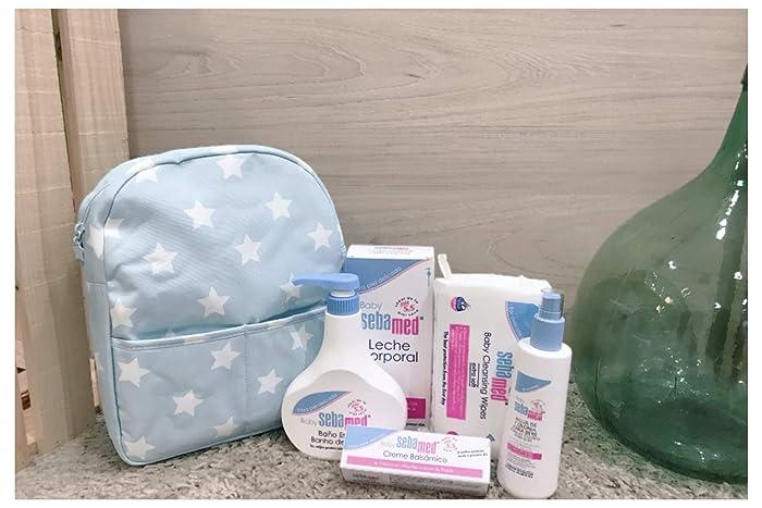Canastilla premium Sebamed Baby + mochila estrellas azul