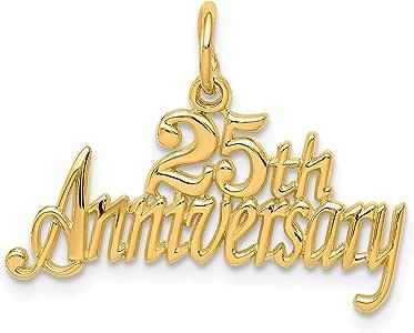Amazon.com: 14K Yellow Gold 25th Anniversary Charm Wedding ...