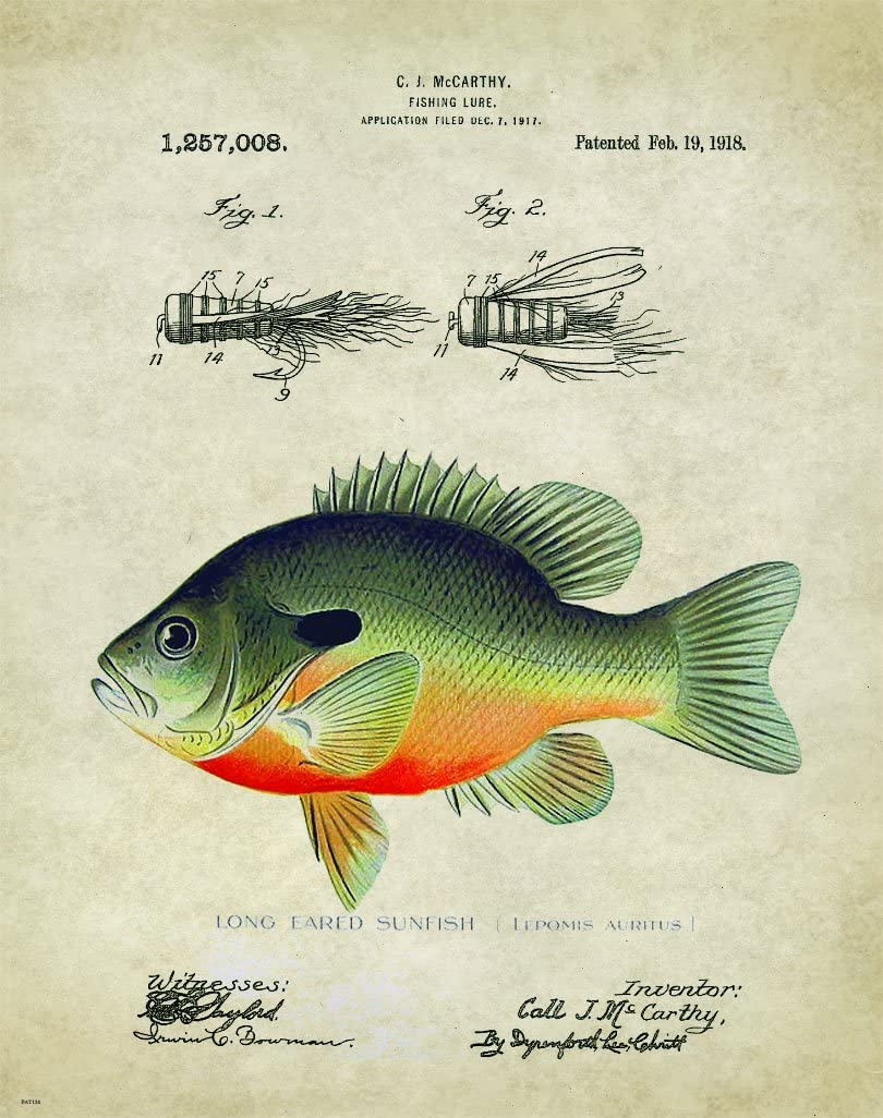 Antique Fly Fishing Lure US Patent Poster Art Print Bluegill Largemouth Bass Walleye Muskie Lures Poles 11x14 Wall Decor Pictures