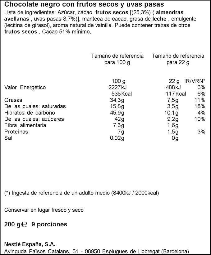 Nestlé Tableta de Chocolate Negro Con Frutos Secos - 200 g: Amazon.es: Amazon Pantry