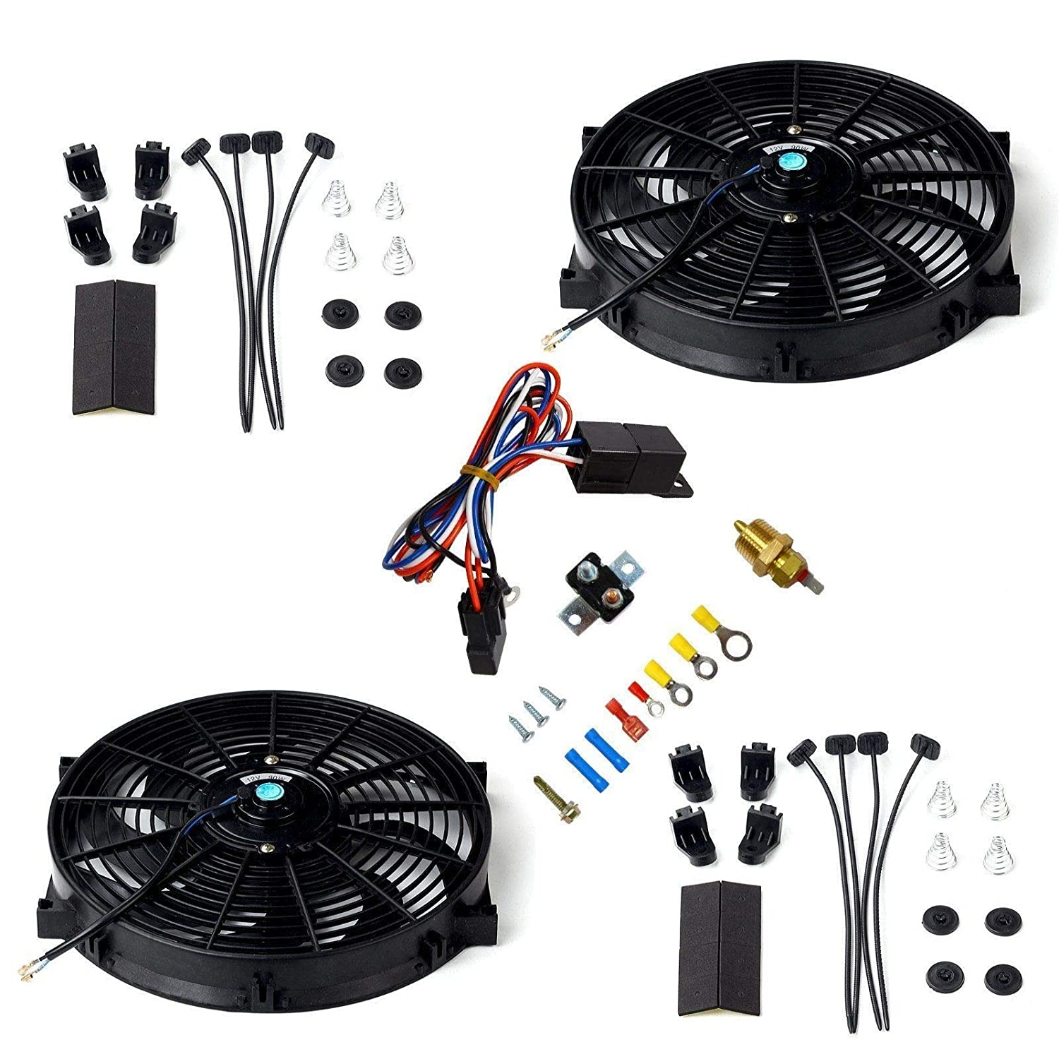 Mounting Kits Thermostat Relay Maxon Auto Corporation Red 2X 12 Universal Electric Cooling Fan Push Pull Electric Radiator Slim Fan