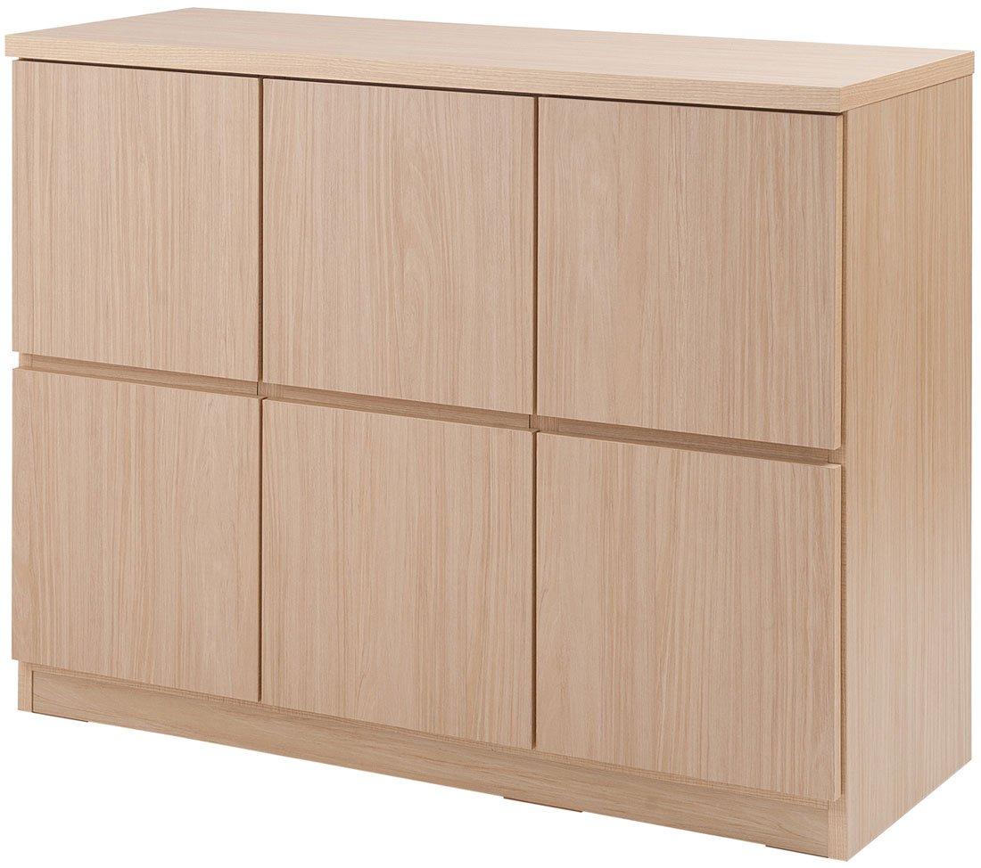 スクエアキャビネット 幅104.5cm ロー 板扉タイプ ナチュラル TE-0096 マルチラック 木製 B01EJA8NDC