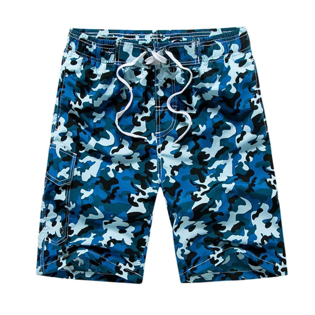 White Beach Shorts for Men, Running Shorts Men Split,Men Gym Shorts,Men's Casual Camouflage Printing Beach Pocket Surfing Swimming Loose Short Pants