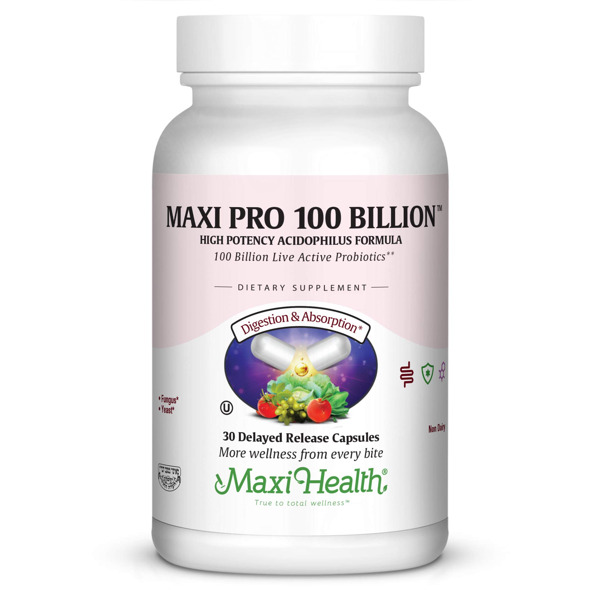 Maxi Pro 100 Billion Probiotics Supplement - High Potency Acidophilus Formula for Digestive & Gut Health - Easy to Swallow, Delayed Release Veggie Capsules for Men & Women – 30 Count
