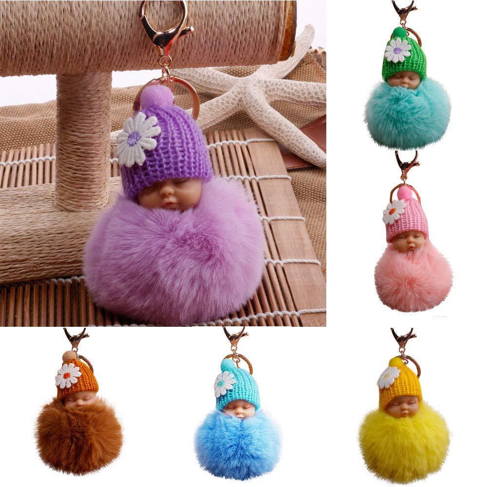 Gaddrt 8cm Pompom Cute Fur Fluffy Sleeping Baby Doll Key Chains Keyrings Bags Charm Pendant Hot Pink