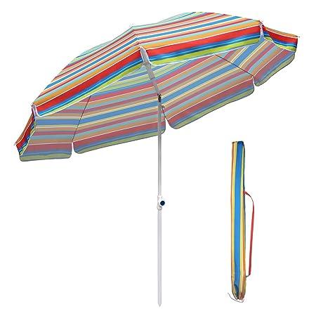 Sekey 7ft Beach Umbrella Blue and Yellow Stripe Outdoor Umbrella Blue and Yellow Stripe Patio Umbrella Blue and Yellow Stripe Market Umbrella with tilt and crank100% Polyster Round Sunscreen UV25+