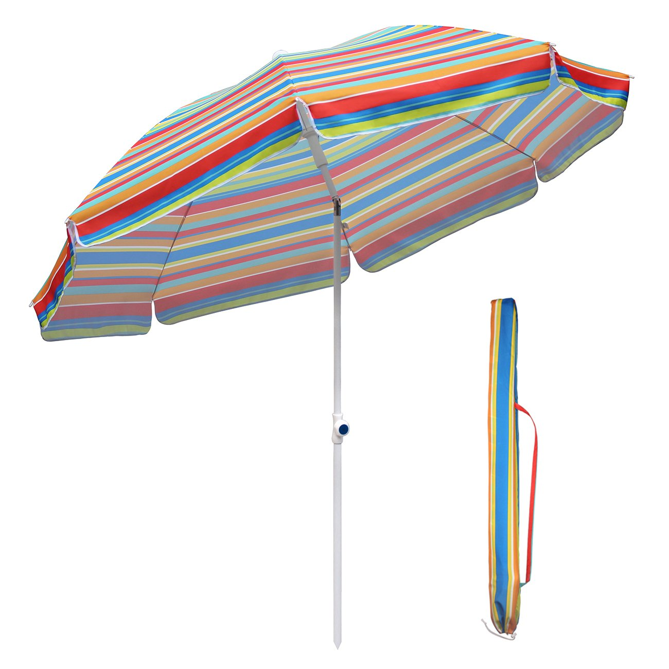 Sekey 7 Feet Beach Umbrella With Tilt Mechanism and Carrying Case,Round Screen,UPF 25,Color Blue and Yellow Stripe,Perfect For Beach, Camping, Sports, Gardens, Balcony and Patio