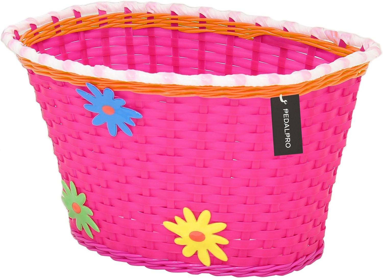 PedalPro - Cesta de flores para bicicleta infantil - Rosa: Amazon ...