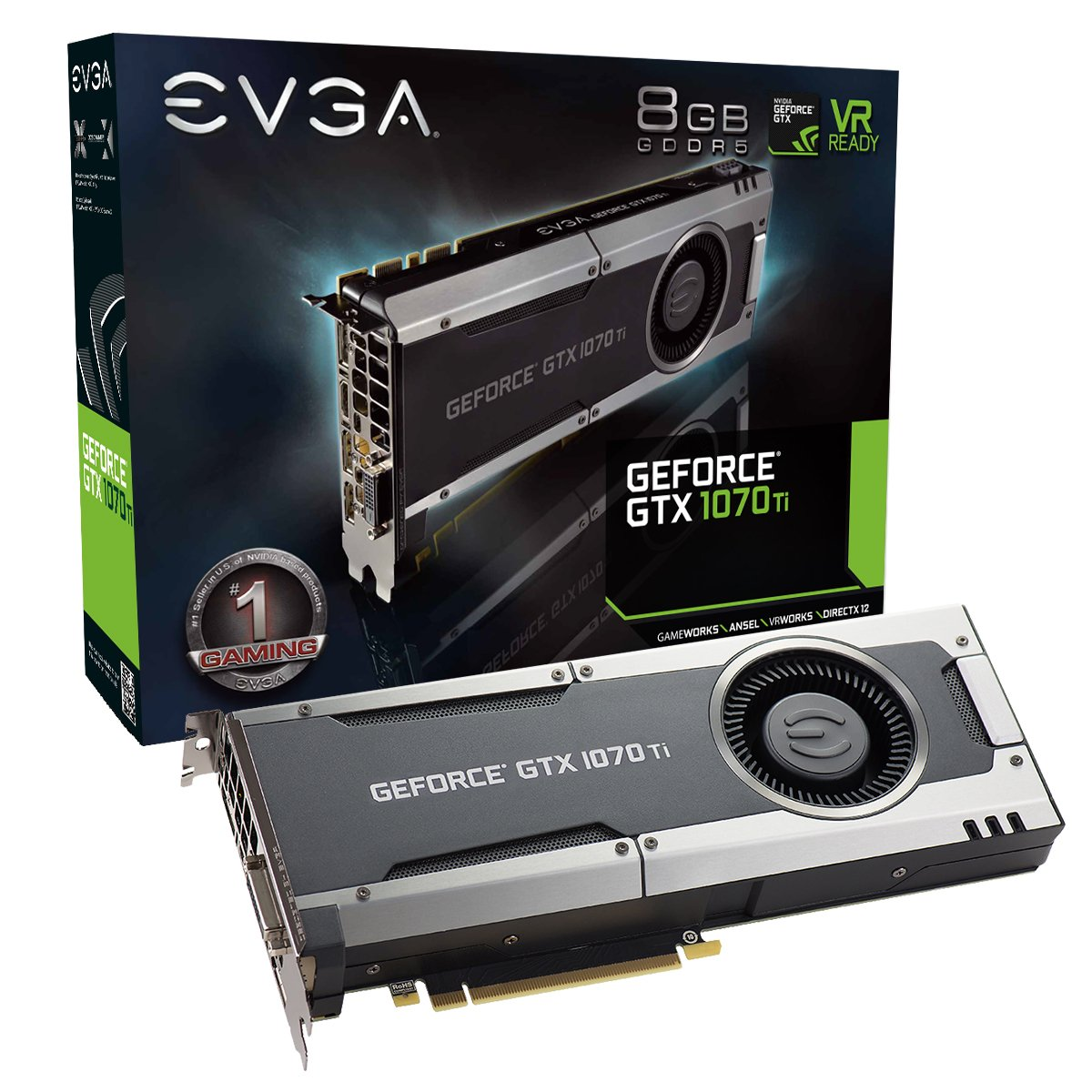 EVGA GeForce GTX 1070 Ti GAMING, 8GB GDDR5, EVGA OCX Scanner OC, White LED, DX12OSD Support (PXOC) Graphics Card 08G-P4-5670-KR