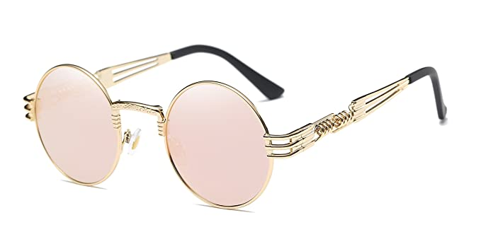 6b74330ece46f Image Unavailable. Image not available for. Color  GAMT Round Steampunk  Sunglasses Vintage Metal Frame Glasses for Men And Women 42mm Mirrored Lens  Pink