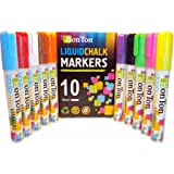 Liquid Chalk Markers Set of 10 Erasable Pen with Reversible Bullet 6mm Wet Erase Paint for Menu Board,Bar Chalkboard,Classroom Kids,Blackboard,Colored Cardboard,Paper,Labels.Dry Dustless