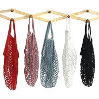 5 Pack Portable Reusable Mesh Cotton Net String Bag Organizer Shopping Tote Handbag Fruit Storage Shopper
