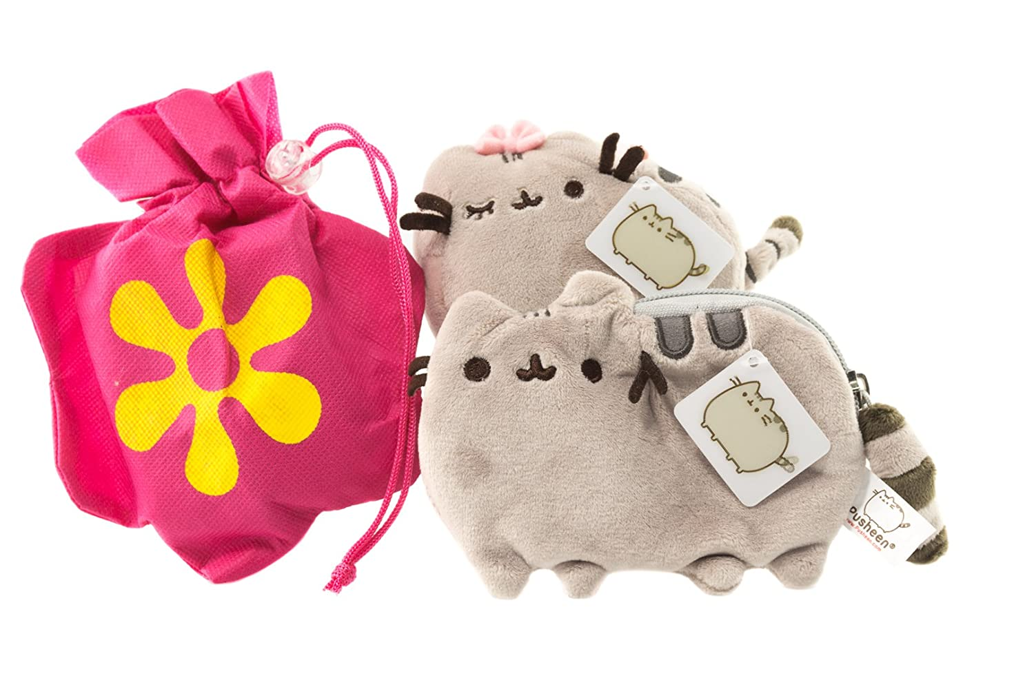 """Pusheen Plush Wristlet and Pusheen Bow Backpack Clip Gift Combo With Reusable Woven Tote Bag 8 Pusheen zip-close Wristlet and 4.5/"""" Pusheen Bow Backpack Clip with Tote Pusheen Gift Combo"""