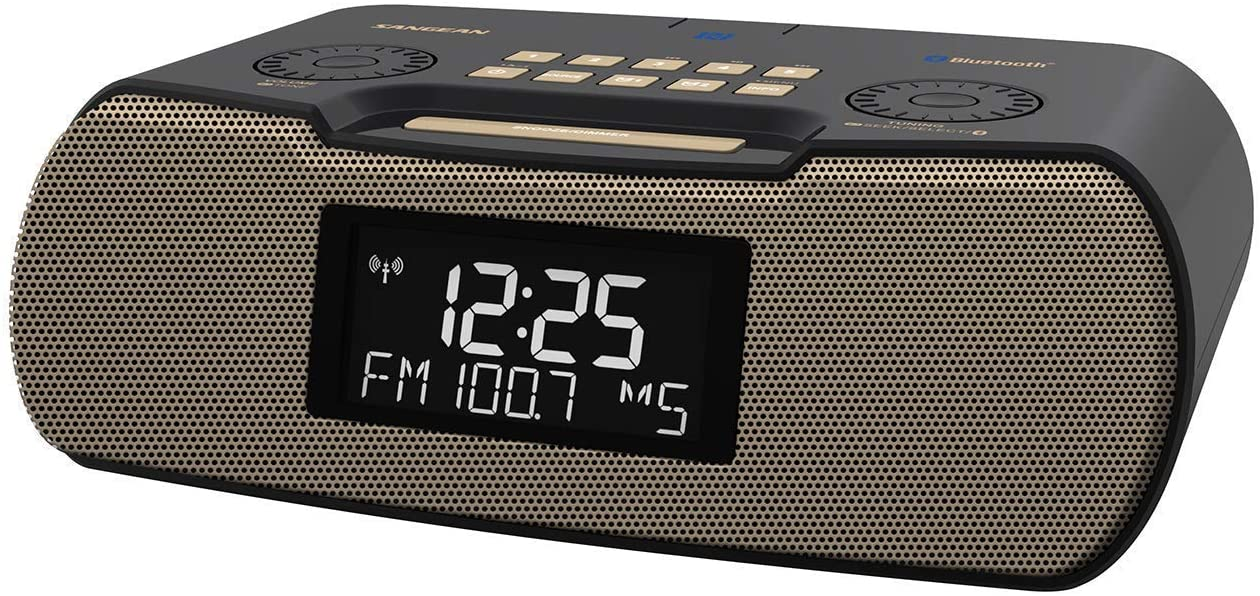 Sangean RCR-20 FM-RDS (RBDS) AM/Bluetooth/Aux-in/USB Phone Charging Digital Tuning Clock Radio with Battery Backup (Gray/Gold)
