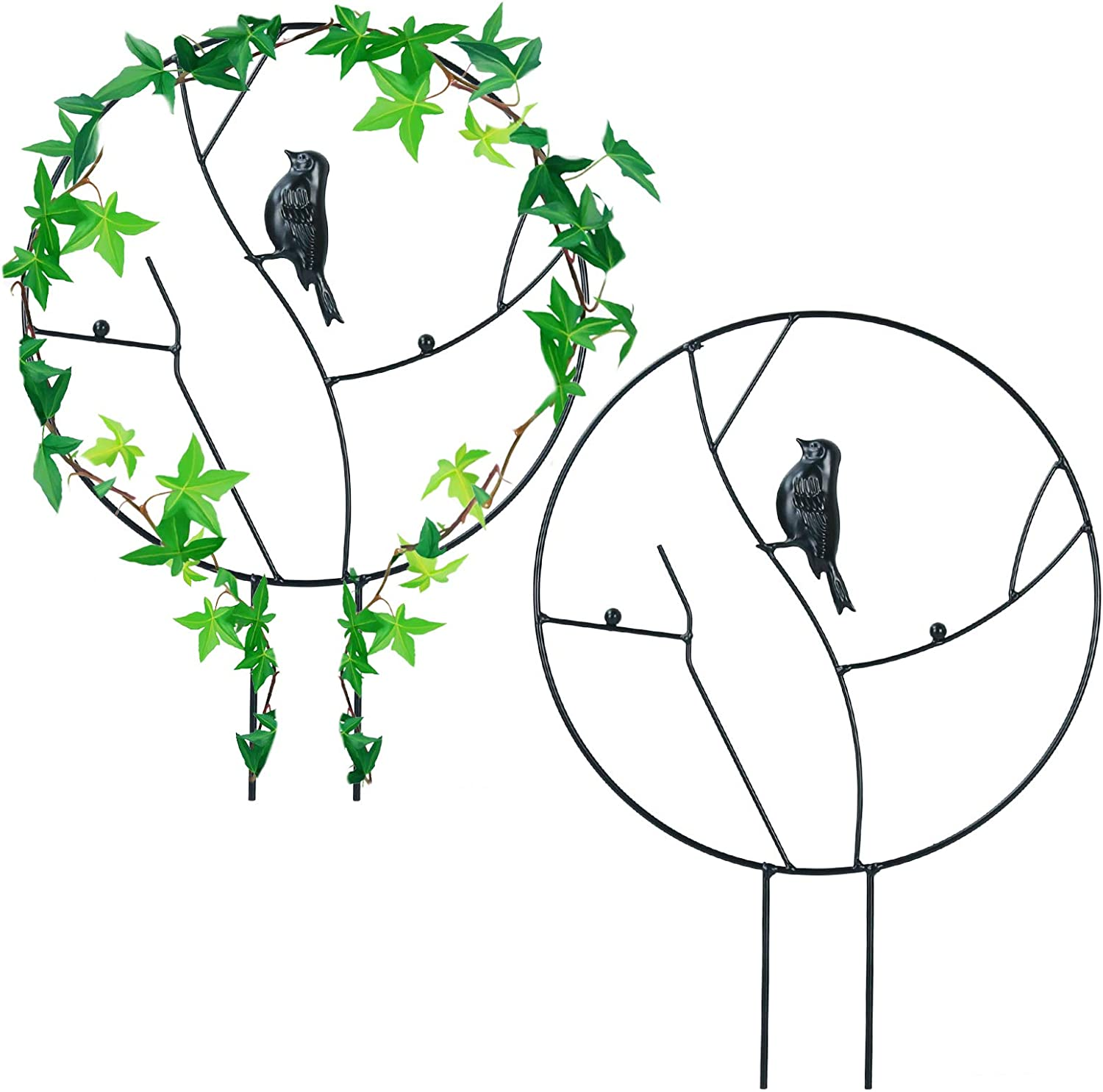 Ibnotuiy 2Pcs Metal Garden Trellis for Climbing Planters Outdoor Potted Bird Round Circle Large Trellis Planter Support Stakes for Flowers Vines Houseplants (Large, Black)