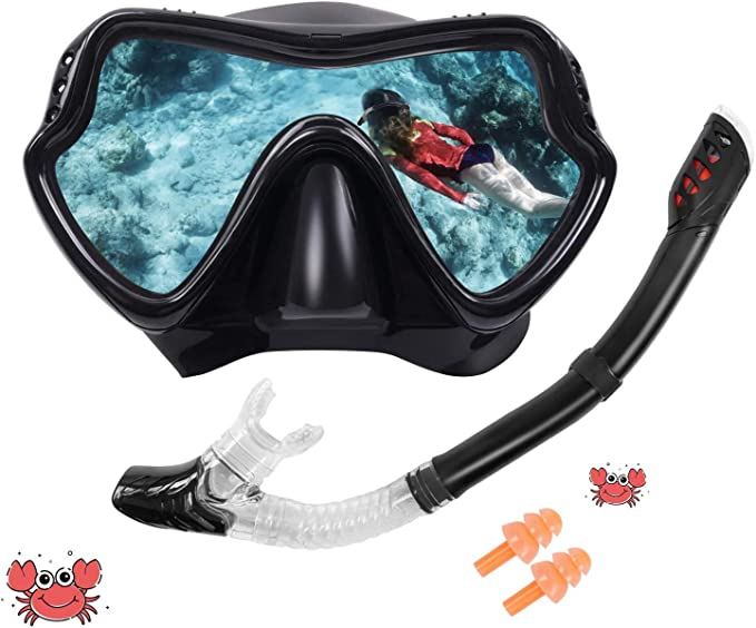 Glymnis Full Face Snorkel Mask for Kids 180/° Panoramic View Shark Design Anti-Fog Anti-Leak Safety Easy Breathing Snorkeling Diving Mask with Storage Bag and Anti-Fog Agent