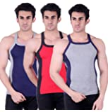 Zimfit Gym Vest - Pack of 3 (Grey_Red_Blue)