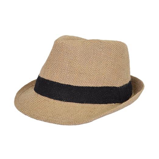Classic Burlap Style Tan Fedora Straw Hat a2041d138ef