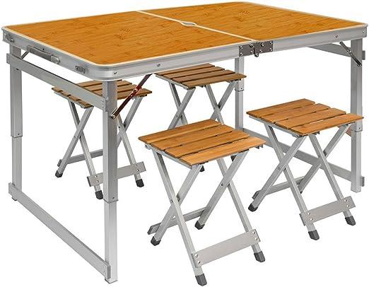 AMANKA Mesa para Acampada pícnic 110x70x70cm Altura Regulable Incl ...