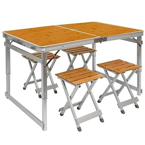 Tavoli Pieghevoli Da Mare.Tavolino Da Campeggio Regolabile In Altezza Tavolo 4 Sgabelli Pieghevole Formato Valigia Facile Da Trasportare In Legno Di Bambu E Alluminio