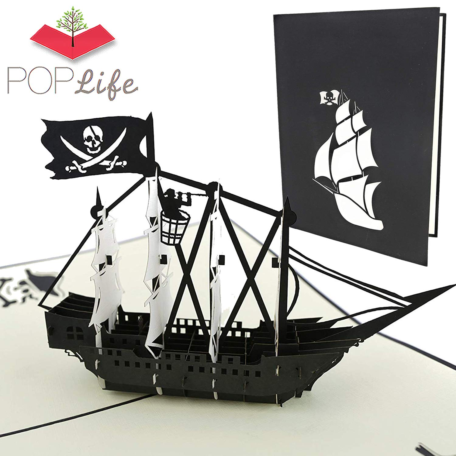 PopLife Black Pirate Ship Pop Up Card for All Occasions - Happy Birthday, Graduation, Congratulations, Retirement, Anniversary, Fathers Day - Treasure ...