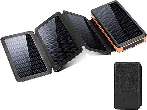 Cargador solar a prueba de agua,20000mAh Banco de energía de gran capacidad Cargador portátil,2 puertos de salida Batería Linterna LED y lámpara de advertencia SOS para actividades al aire libre: Amazon.es: Electrónica