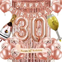 30th Birthday Decorations for Women, Rose Gold 30 Birthday Party Decoration for Her, 30th Happy Birthday Banner Kits…