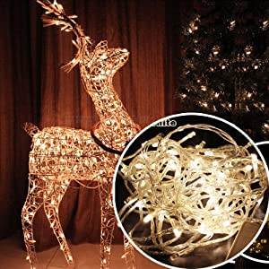 Autolizer 100 LED Warm White Fairy String Lights Lamp for Xmas Tree Holiday Wedding Party Decoration Halloween Restaurant or Bar and Home Garden - Control up to 8 Modes