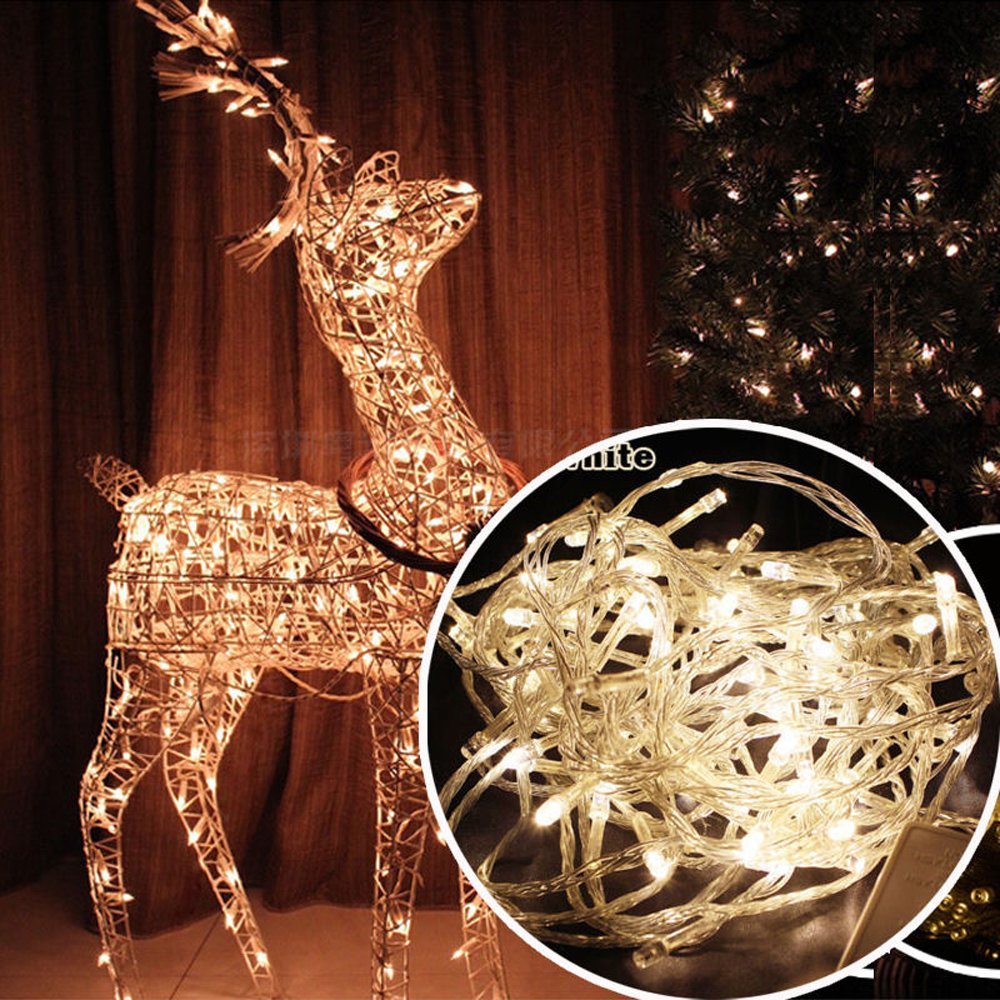 Autolizer 200 LED WARM WHITE Fairy String Lights Lamp for Xmas Tree Holiday Wedding Party Decoration Halloween Showcase Displays Restaurant or Bar and Home Garden - Control up to 8 modes