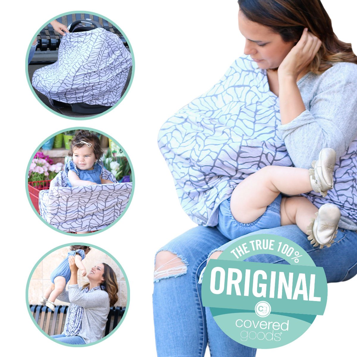 Covered Goods - The Original Multi Use Maternity Breastfeeding Nursing Cover, Infinity Scarf, and Car Seat Cover - Roots