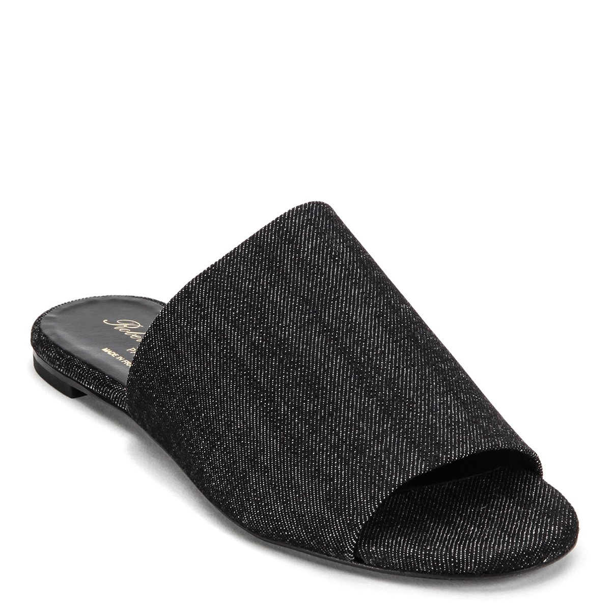 Robert Clergerie Women's Gigy Denim Toe Open Slides GIGYT, Black (EU 37.5 M)