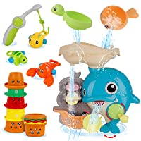 Dwi Dowellin Bath Toys Dolphin Waterfall Station with Burger Stacking Cups and Fishing Games Bathtub Tub Bath Time Water Toy Gift for Toddlers Kids Baby Infant Girls Boys Age 1 2 3 4 5 6 7 Years Old